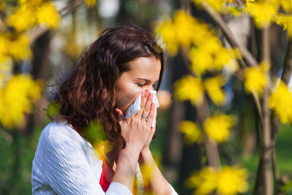 Sneezing hay fever